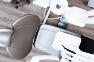 Birds eye view of chair and equipment used for orthodontics in Glasgow clinic